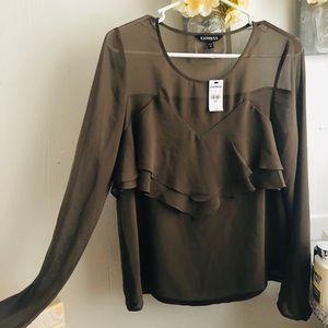 Express olive blouse ruffled